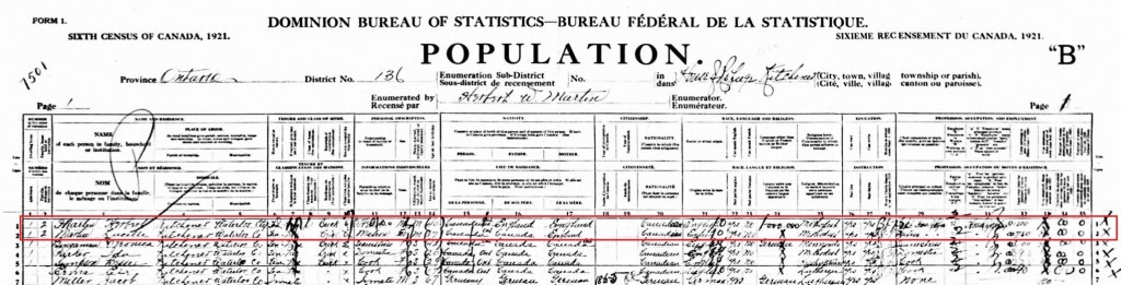 1921 Census of Canada; Source: ancestry.ca