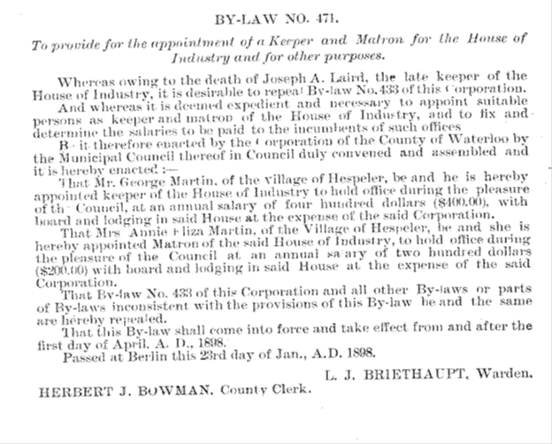 By-Law 471 Appointing George and Annie the next Keeper and Matron of the House; Source: Journal of Proceedings and By-Laws of the Municipal Council of the County of Waterloo 1898, Region of Waterloo Archives