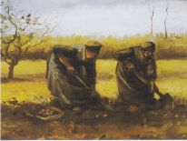 Two Peasant Women Digging Potatoes, 1885 by Vincent Van Gogh; Source: Public Domain, PD-1923