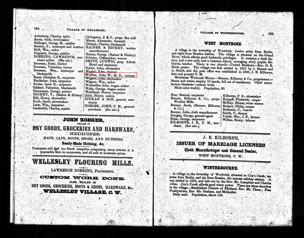 1867 Wellesley Directory; Source: ancestry.ca