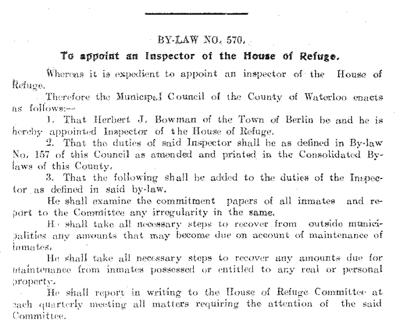Journal of Proceedings and By-Laws of the Municipal Council of the County of Waterloo 1906; Source: Region of Waterloo Archives