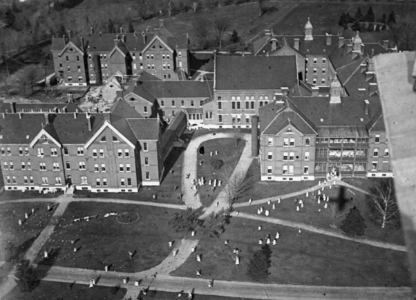 Orillia Hospital School. First called teh Asylum for Idiots and Feeble minded (1876). Over 10,000 children and adults were committed there until it closed in 2009. Source: Canada. Dept. of National Defence/Library and Archives Canada/