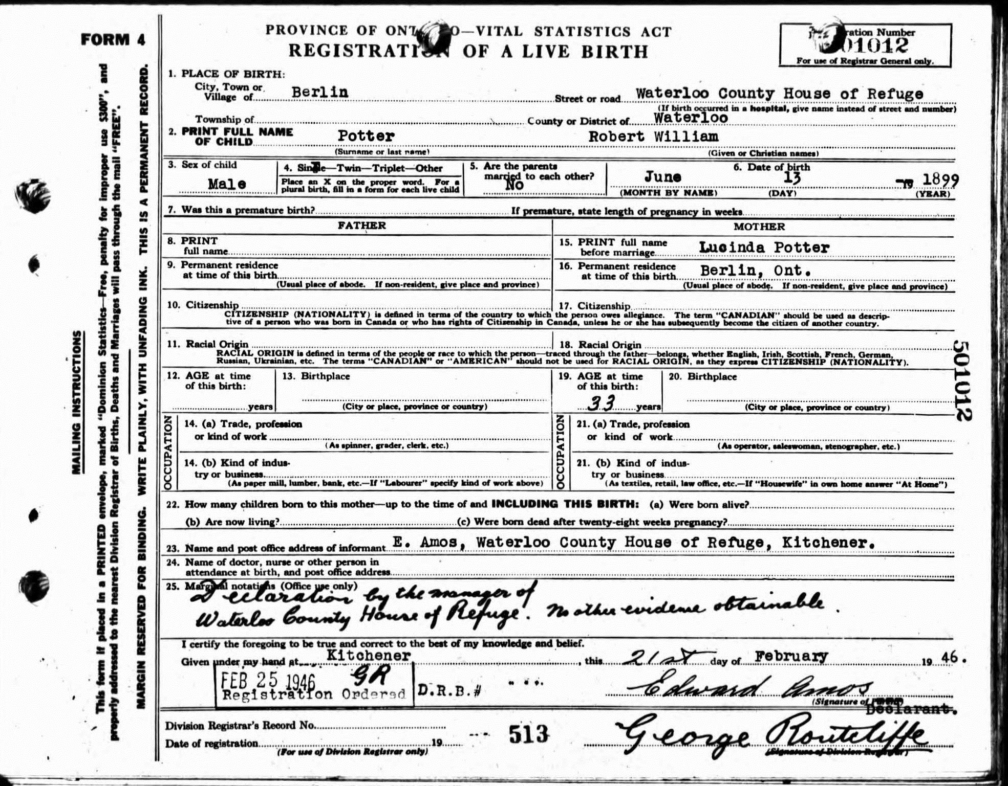 1899 Robert Williams Birth Certificate Waterloo County House Of