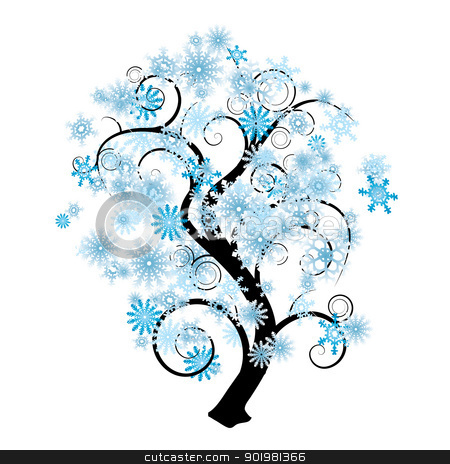 Snowflake Tree Stock Vector