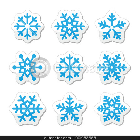Christmas Snowflakes Icons Set Stock Vector