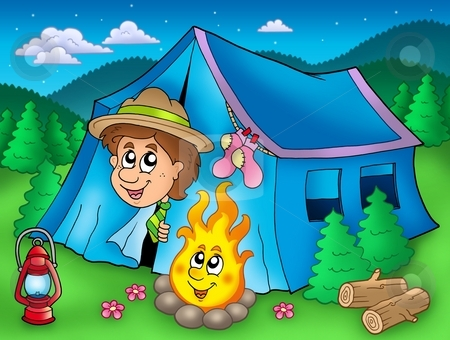 Cartoon Scout Boy In Tent Stock Photo