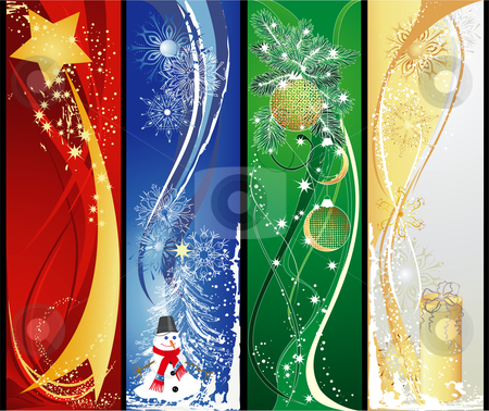 Four Christmas Vertical Banners Stock Vector