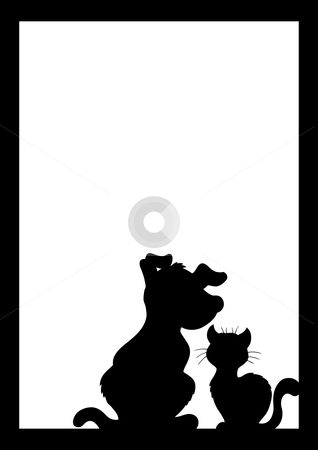 Frame With Cat And Dog Silhouette Stock Vector