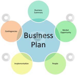 Business plan management diagram stock photo