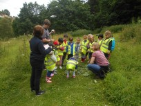 Viewing the pupils Land Art gallery