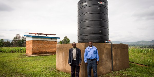 Safe water is stored and protected in a community in Ngoje, Tanzania.