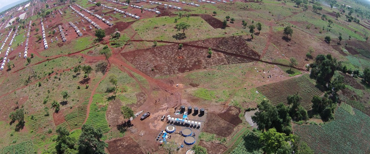 Aerial view of part of Nyarugusu Refugee Camp, Tanzania