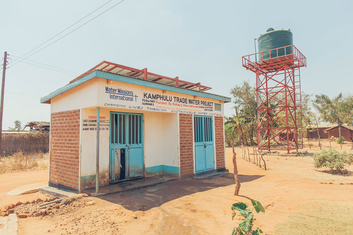 A safe water treatment solution serves a community in Malawi.