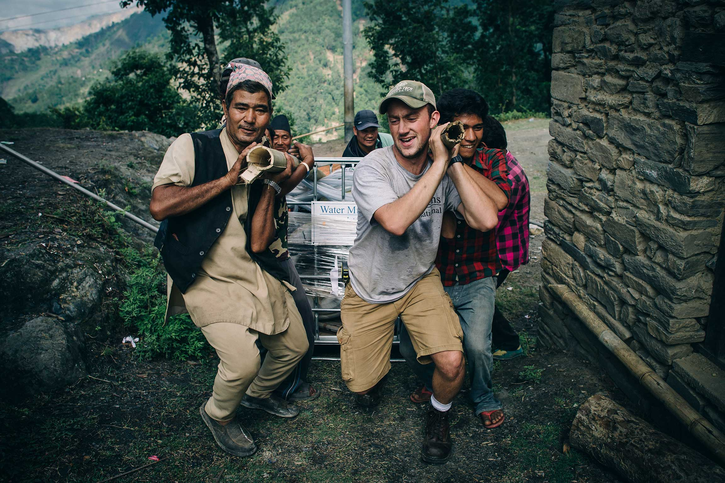 Water Mission staff work to implement a disaster safe water solution following the 2015 Nepal earthquake.
