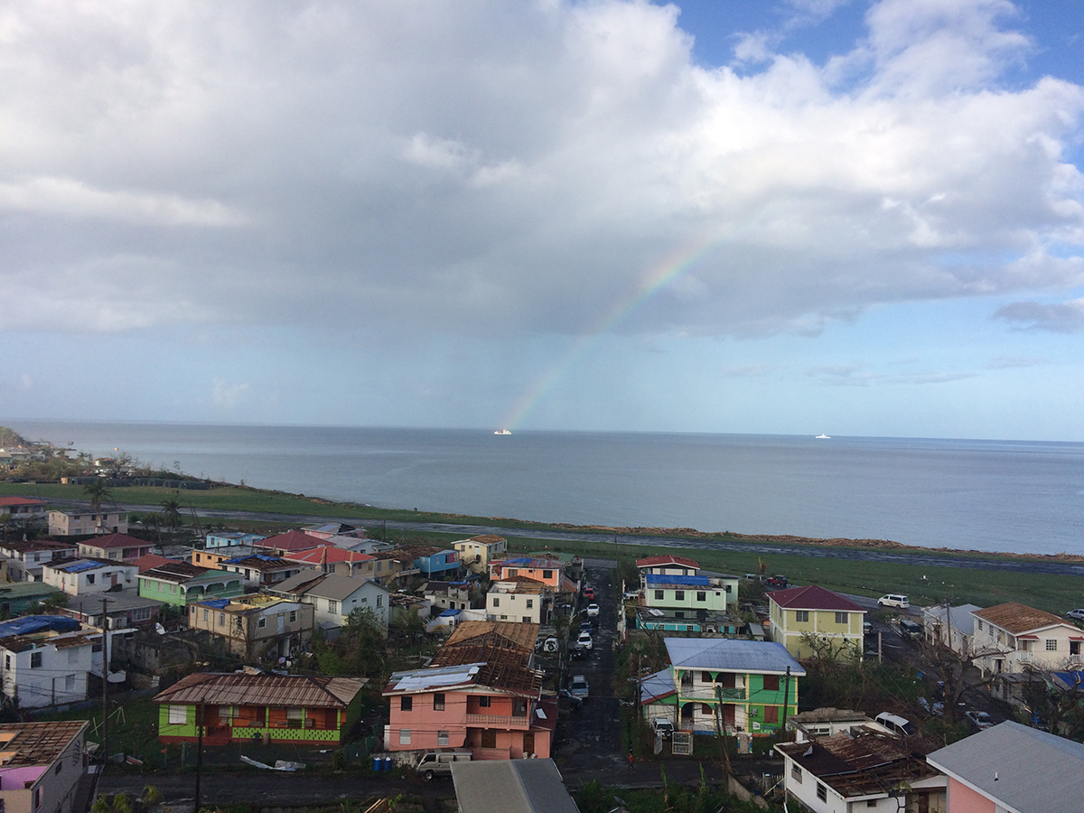 A rainbow with the cargo ship holding our equipment at the end of it.