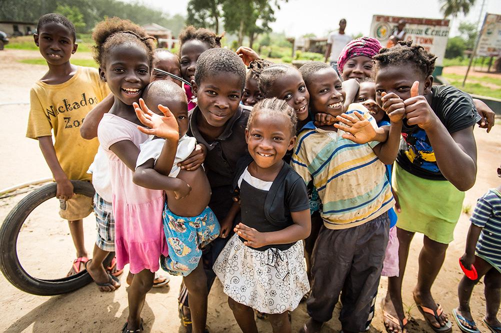 Children in Liberia celebrate safe water.