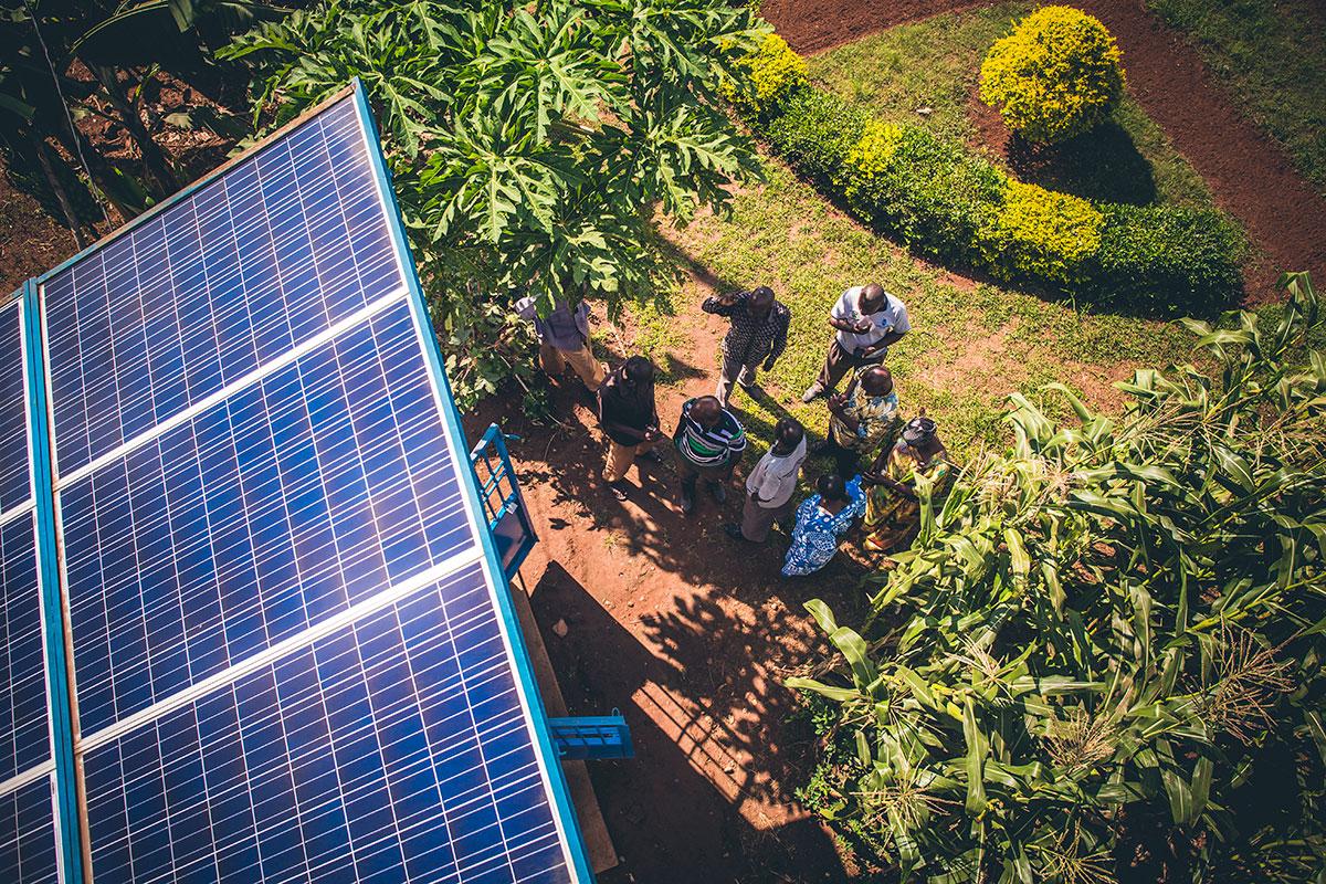 Solar-powered water pumping in Uganda.