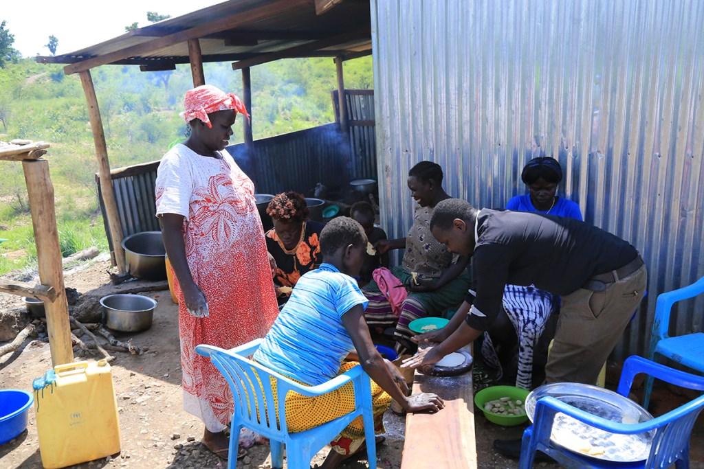 Women learn to make chapati and mandazi.