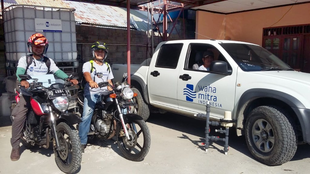 Our team heading out to provide safe water to those in need.