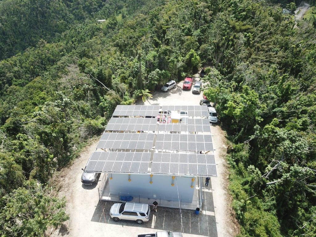 100-panel solar array in the community of Montellanos, Puerto Rico.