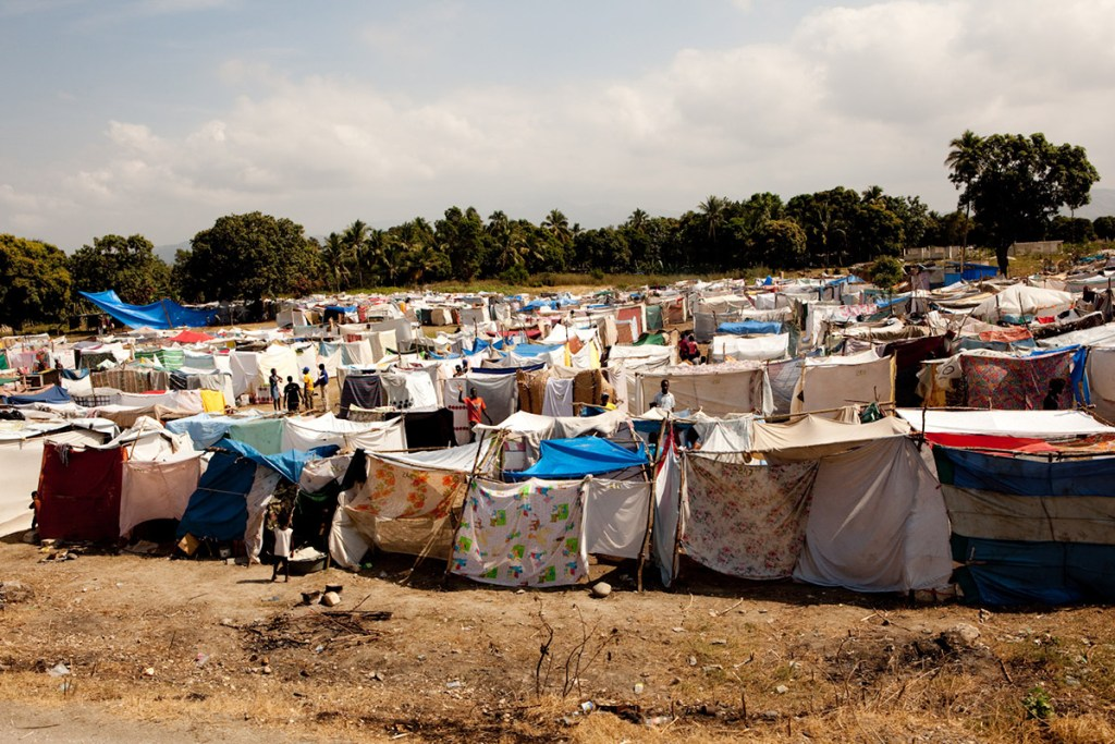 """Tent cities"" constructed in the wake of the disaster"