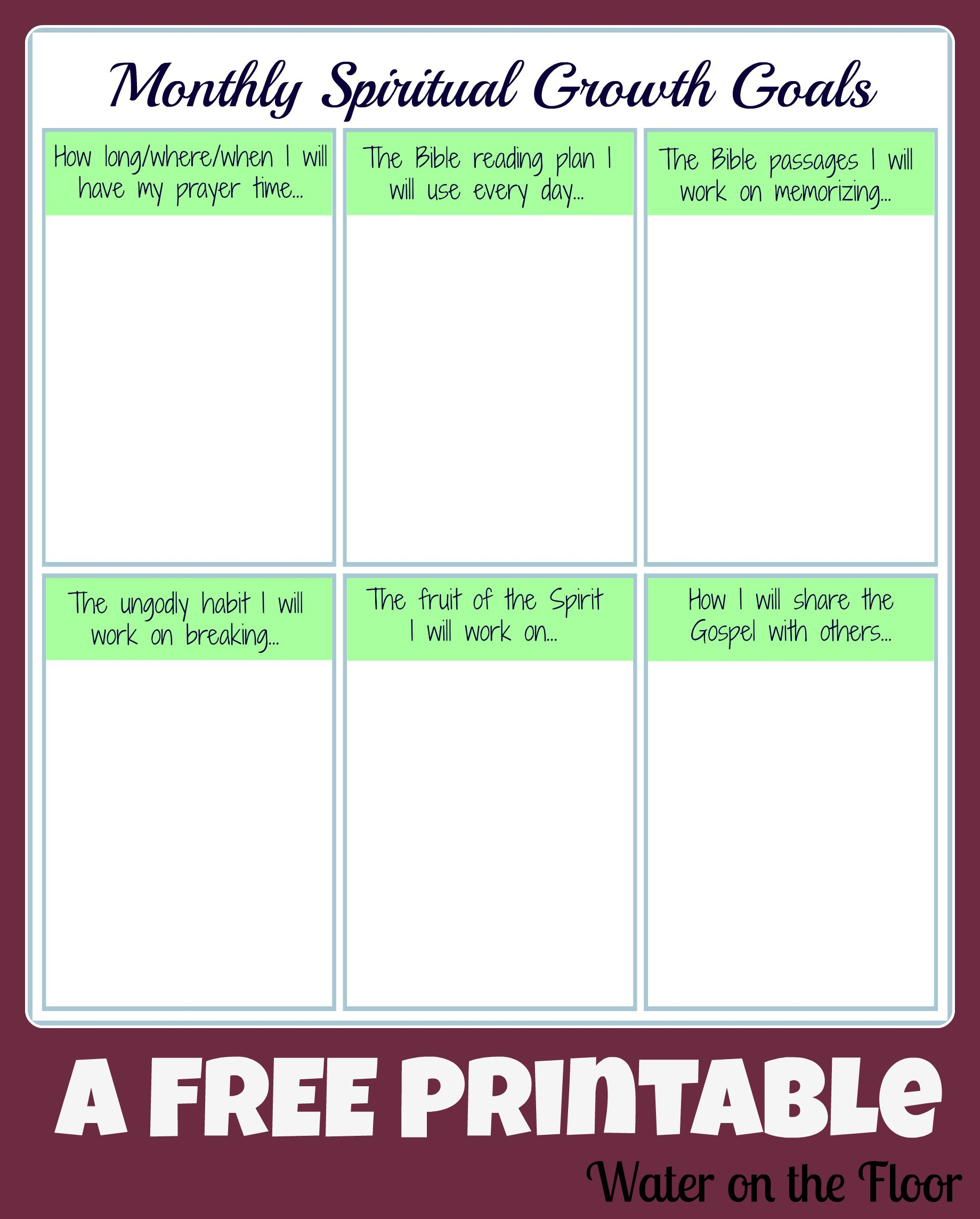 Monthly Spiritual Growth Goals Free Printable
