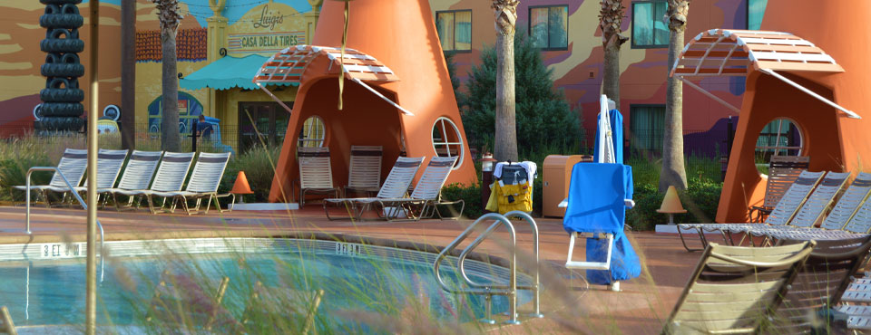 Disney Art of Animation Resort Cars Pool with Cone like Cabanas 960