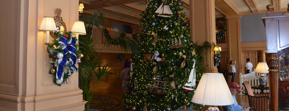 Christmas Tree in the Grand Entrance of the Disney Yacht Club Resort wide