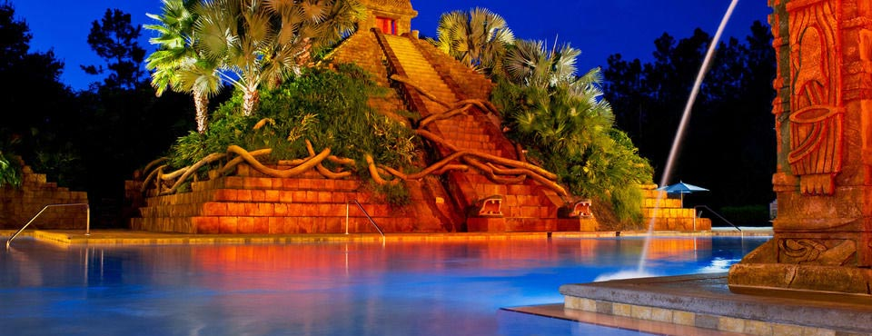 View of the main pool with water slide at the mayan temple at the Coronado Springs Disney World Resort in Orlando 960