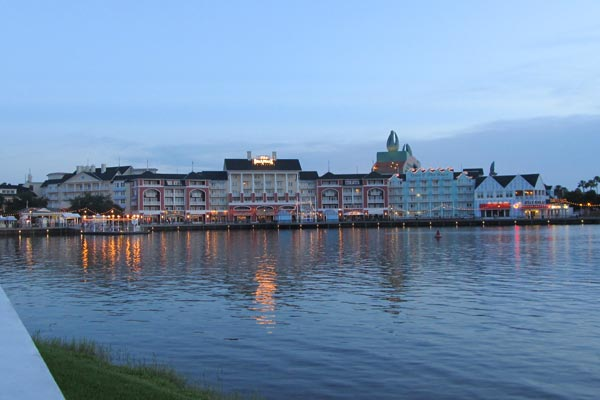 View of the Disney Boardwalk Inn from across the lake with great view of the water 600