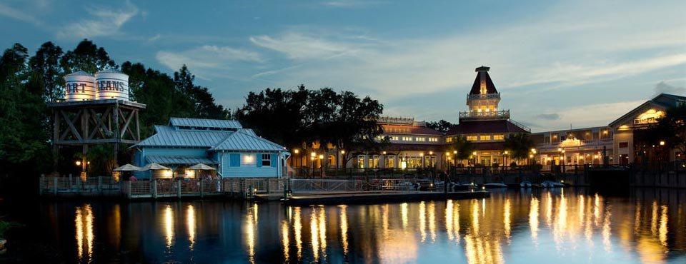 View of the dock and port entrance to Disney Port Orleans Riverside in the evening 960