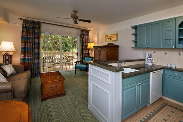 View of the Kitchen and Living area Disney Saratoga Springs Resort Bedroom Villa 600