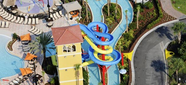 Great view of the twistin body and enclosed water slides at the Fantasy World Resort in Orlando