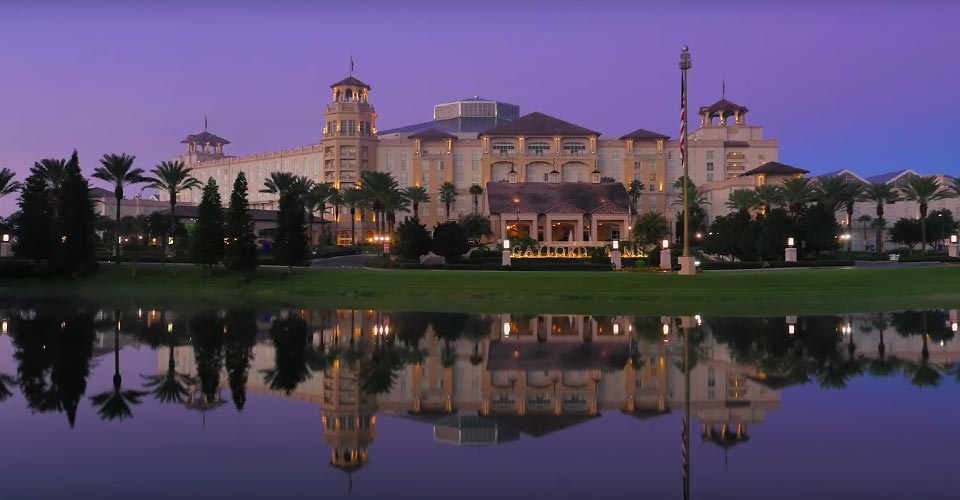 Gaylord Palms Entrance across the pond 960