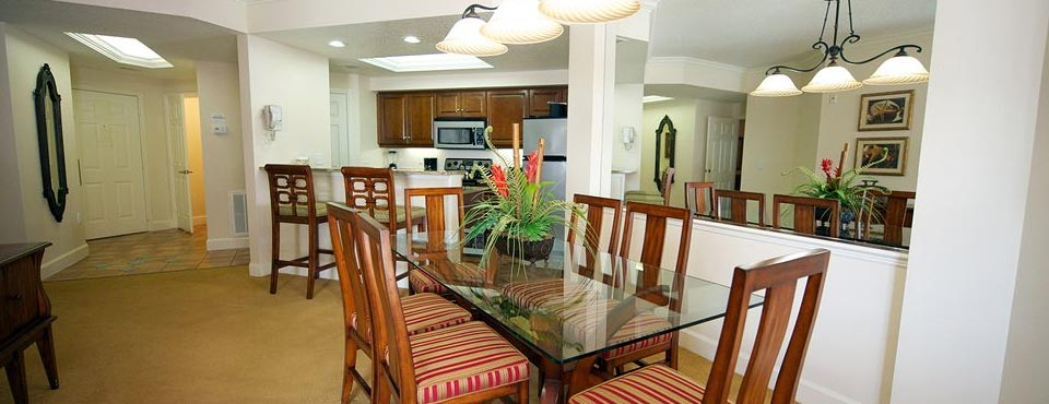 View of the Kitchen and Dining Room in a 2 Bedroom Villa at the Grande Villas Resort in Orlando 960