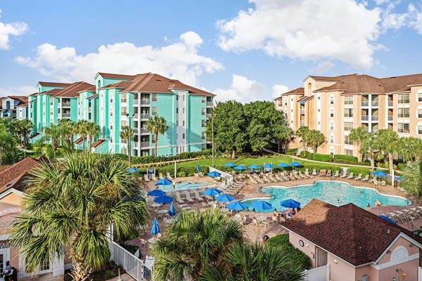 View of the Grande Villas Resort main buildings and pools 600