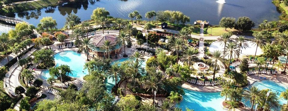 View of the JW Marriott Grande Lakes Orlando Water Fun Pool with huge Lazy River overlooking the large lake 960