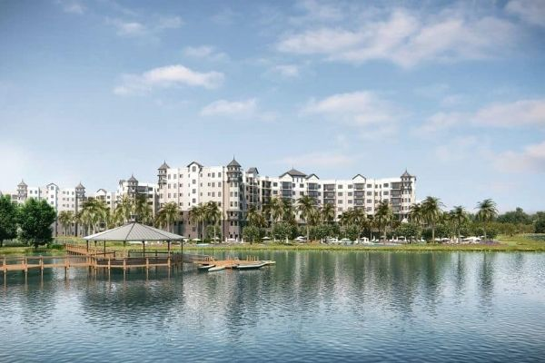 View of The Grove Resort in Orlando from the Lake 600