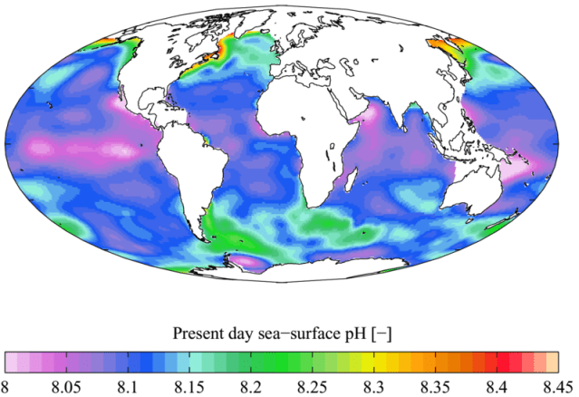A graphic displaying the distribution of pH in saltwater across the world. Some areas closer to shore have a higher pH, while some offshore locations are lower. The ocean's average pH is ~8.