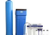 Tier1 48,000 Grain Capacity Water Softener + 5-Stage Reverse Osmosis Drinking Water Filter System and 4 Glass Water Bottles