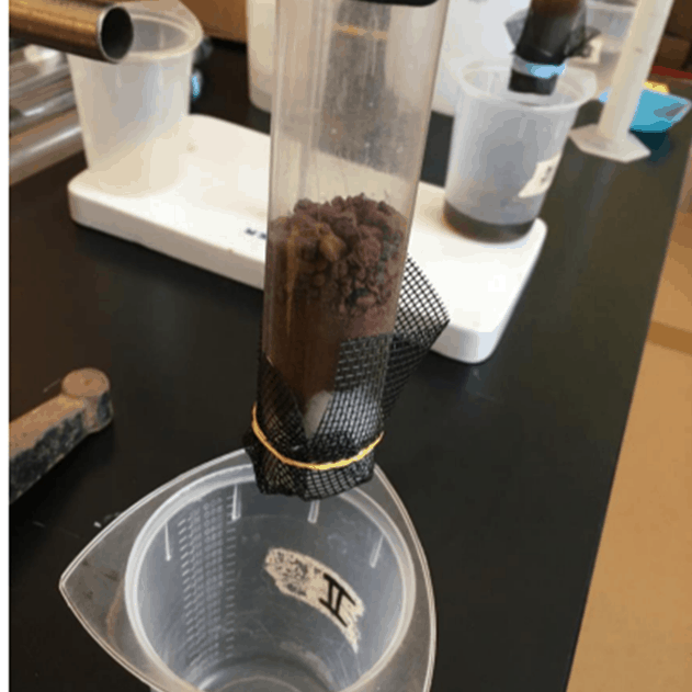 sediment column to test filter media