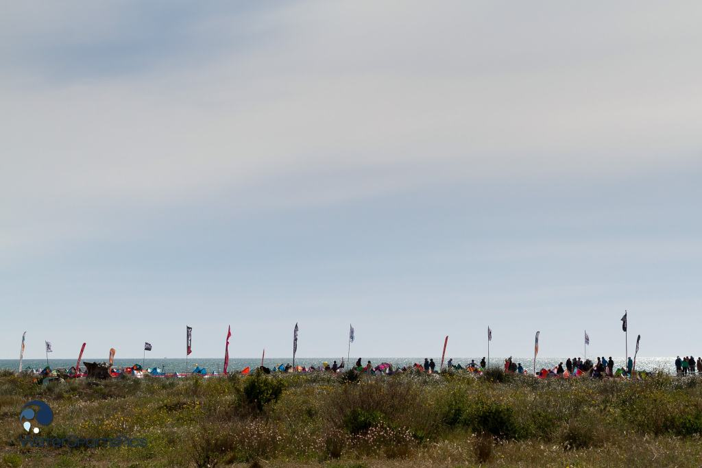 Competition area viewed from the back of the EJKC / European Junior Kite Championship in Saint Pierre la mer, France