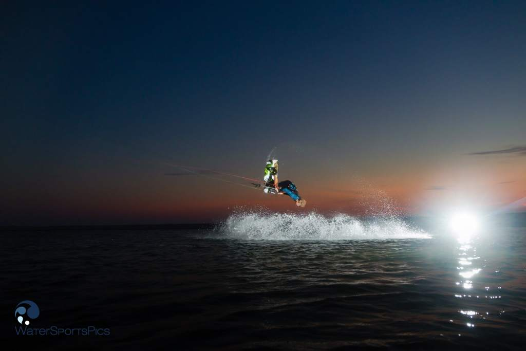 evening shoot with Dylan van der Meij (Flysurfer/Jobe/Lip/Lifely) at Zandmotor, Monster, The Netherlands on 22 July  2014.