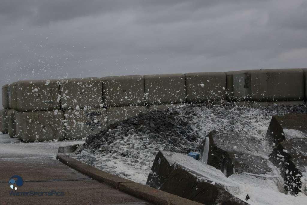 Salt water spray on the pier at  Wijk Aan Zee The Netherlands op 20 December 2014,