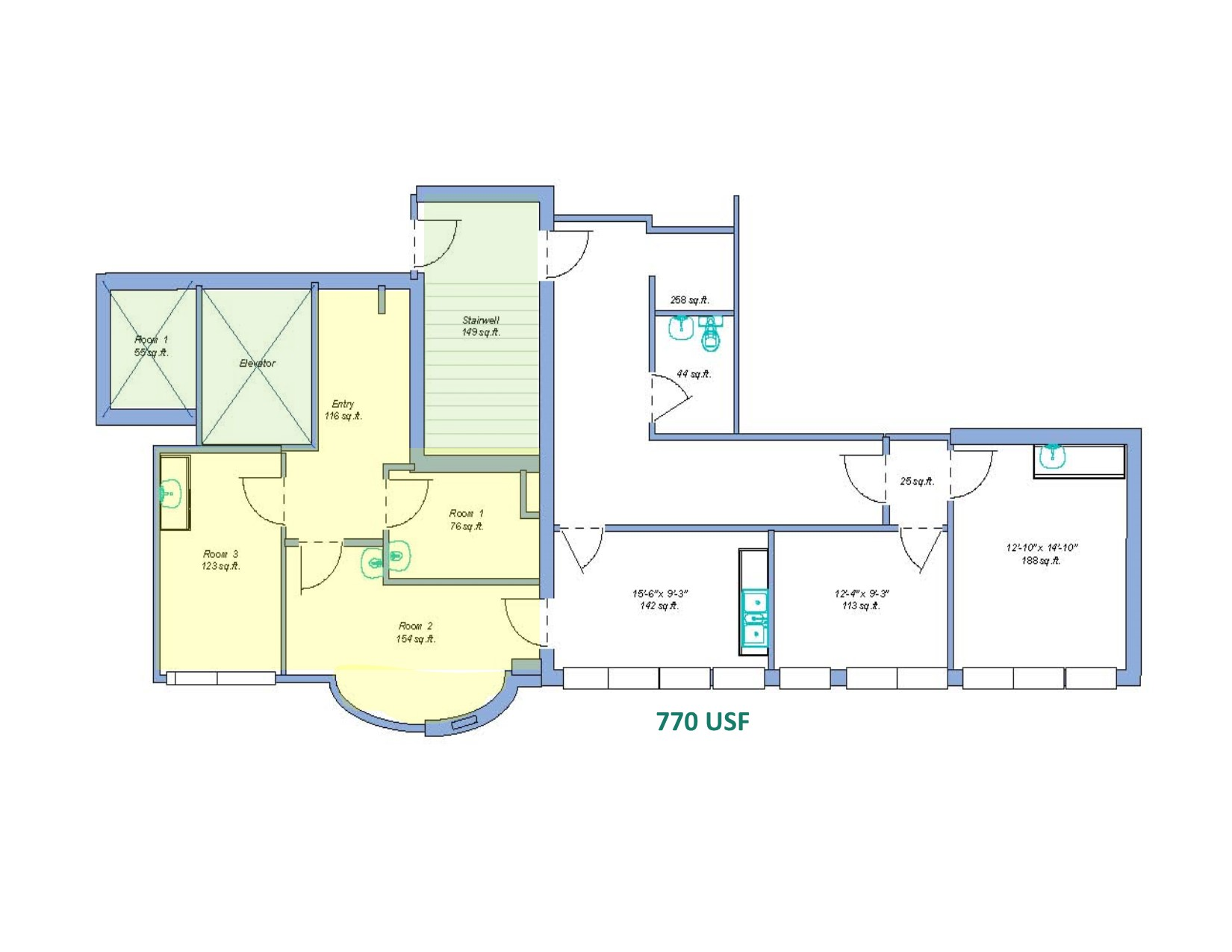 This 800 Sq. Ft. Unit Has An Additional 540 Square Feet Of Contiguous Space  Next Door. The Yellow Block On The Floor Plan Is Referencing The Office  Space ...