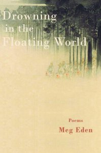 This is a photo of writer Meg Eden's book cover. The title of the book is Drowning in the Floating World. Set amidst a foggy background, animals wearing clothing are standing upright against trees.
