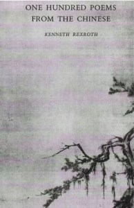 This is a cover image of Kenneth Rexroth's translation book titled One Hundred Poems from the Chinese. The image is a black spindly tree set against a gray background.