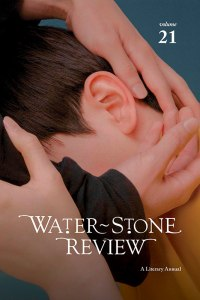 This photo is the cover image of Vol. 21 of Water~Stone Review. It features a young white boy's side profile. Two hands are grasping his head.