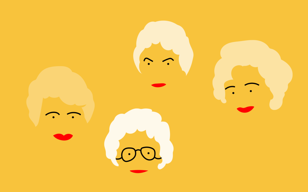 This is an image of cartoon faces of the four women characters of the fictional TV show Golden Girls. The women all have white hair and red lips, and their faces appear against a lemon-yellow background.