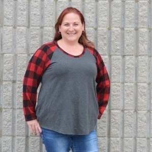 Charcoal Mix with Buffalo Plaid Slim Fit Raglan By Heather G